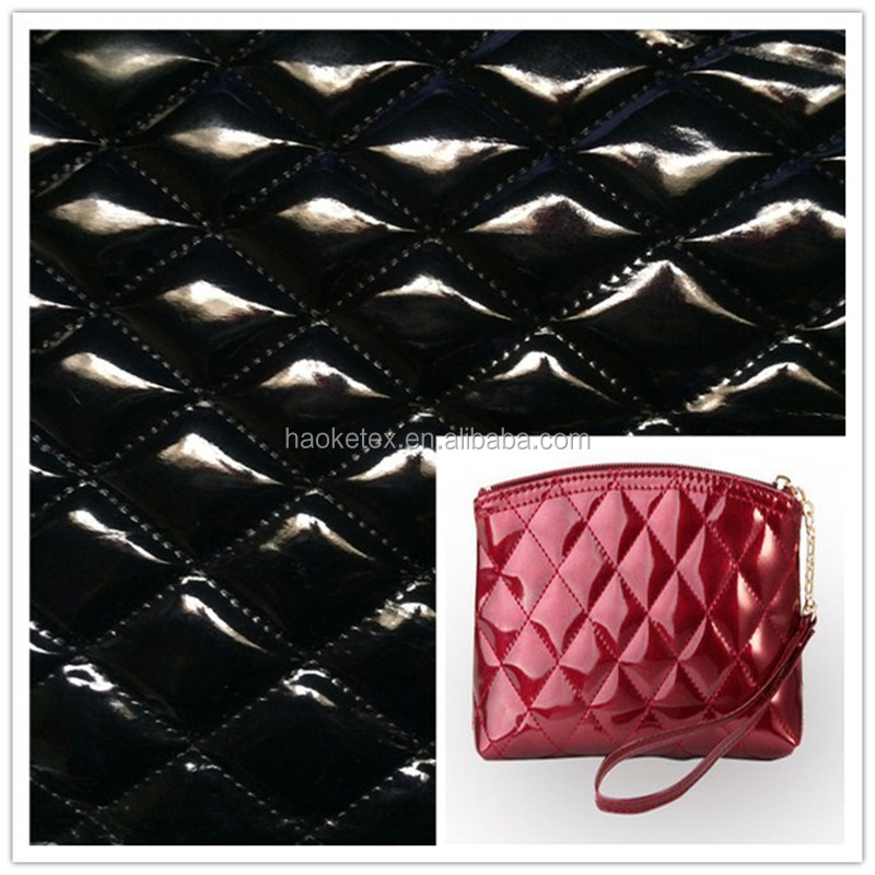 quilted leather fabric with sponge foam for handbag