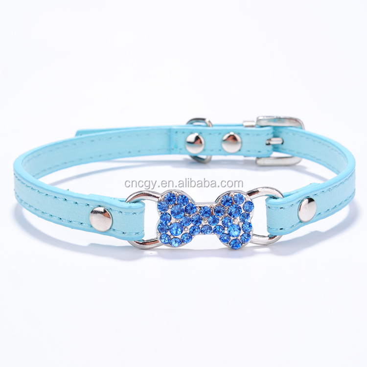 Wholesale Leather Outstanding Bling Rhinestone Dog Collar