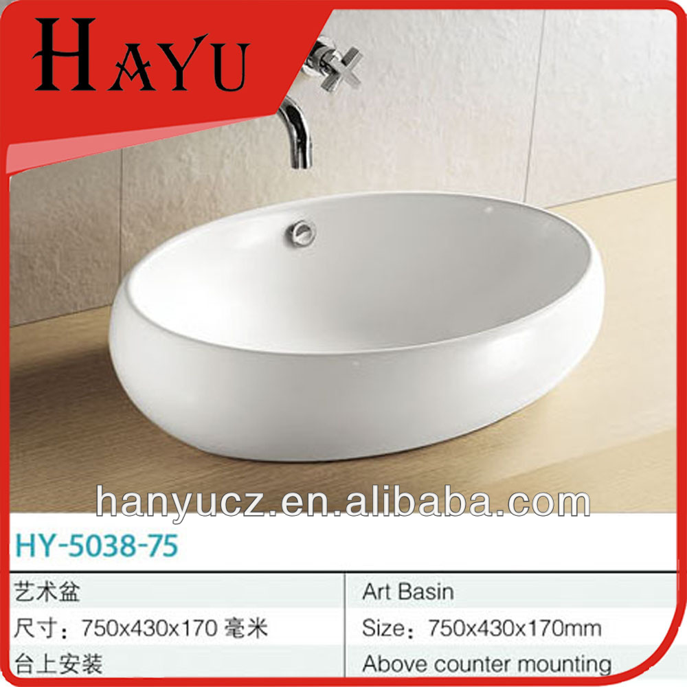 HY-5038-75 Big size fancy design ceramic outdoor table sink