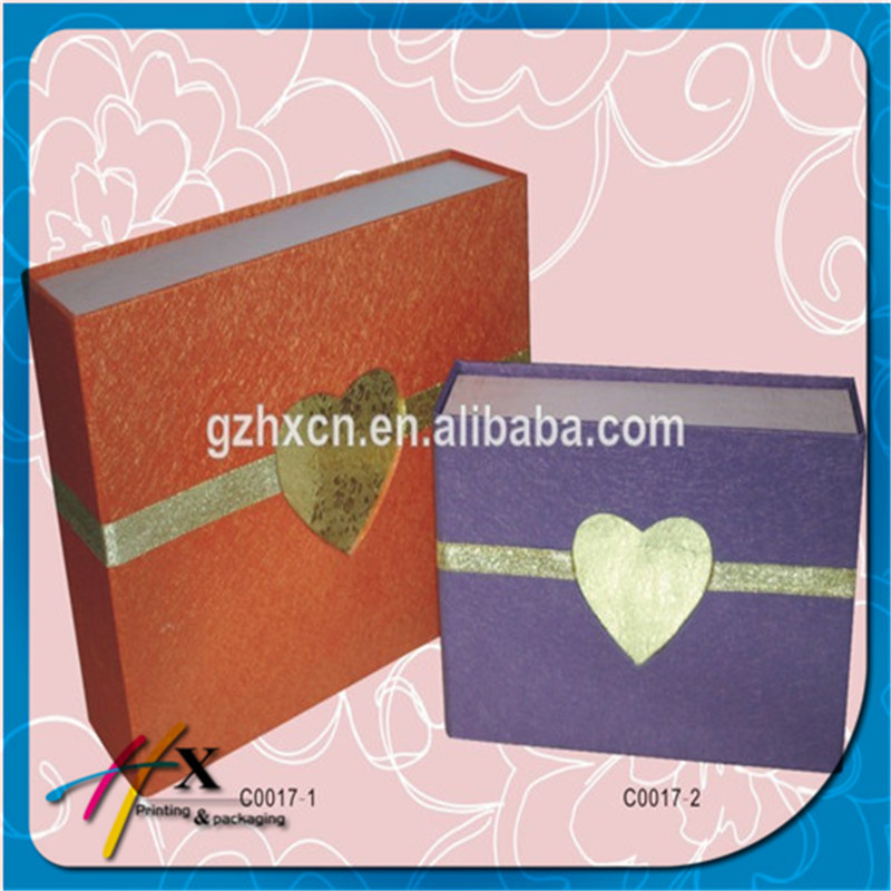 Handcrafted Book Shape Cardboard Paper Gift Box Storage Case with Gold Heart