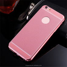 Low Price China Cell Phone Case Taobao Metal Bumper Electroplate Litchi Lines Leather Case For iPhone 7 For iphone 6