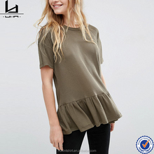 New fashion women ruffle hem short sleeve made in italy plus size blank cotton t shirt