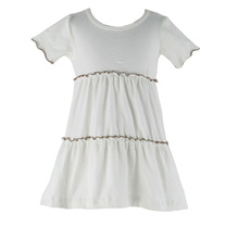 Latest kids party dress fashion small girl white collect waist contracted short sleeve ruffle dress