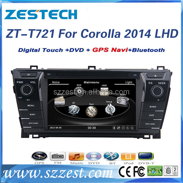 Factory sale touch screen car tv dvd player radio video 3G, car gps navigation for toyota corolla 2014/