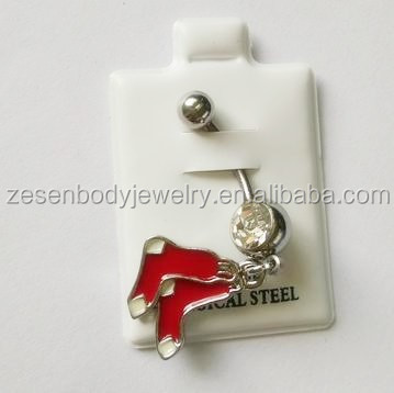 Hot Sale Red Foot Dangle Navel Ring Belly Button Ring Body Piercing Jewelry