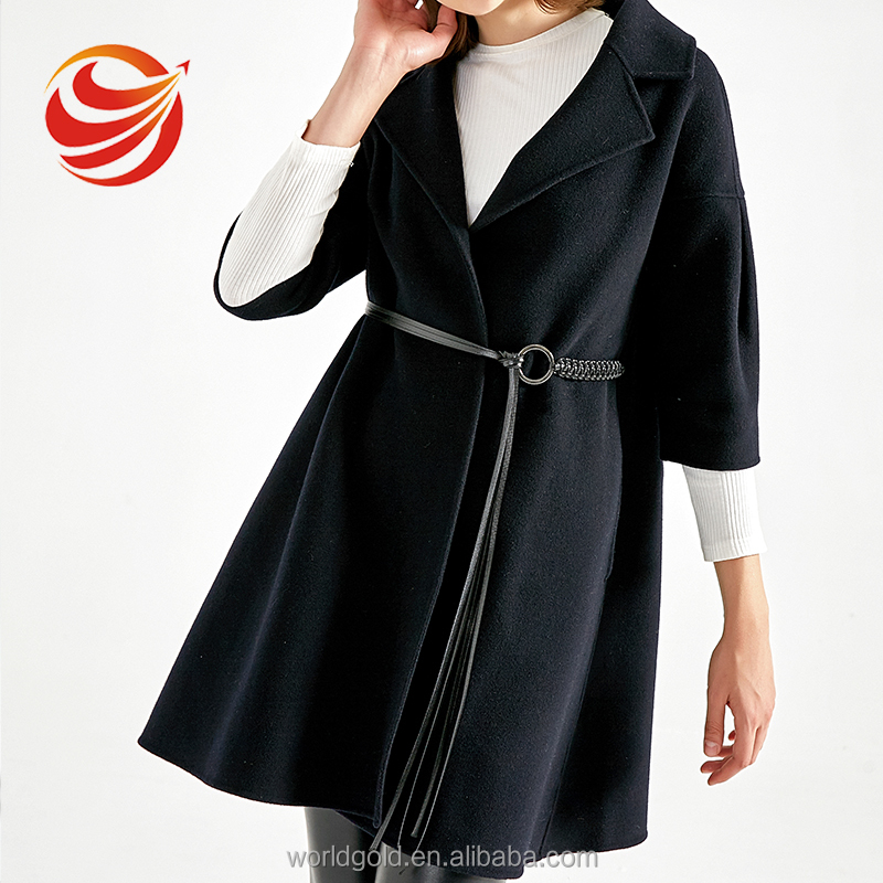 CUSTOM LOW MOQ WOMEN FASHION DARK NAVY WOOL DRESS COAT LADIES WOOLEN DRESS COAT WITH PU BELT