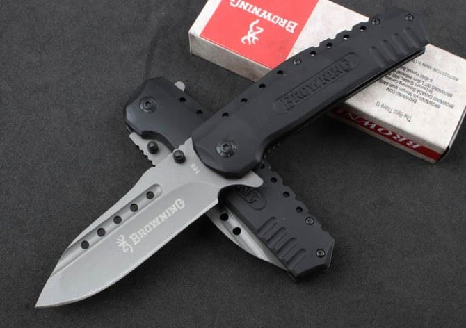 Browning F-66 Rubber aluminum handle quick opening tactical survival hunting combat army folding pocket <strong>knife</strong>
