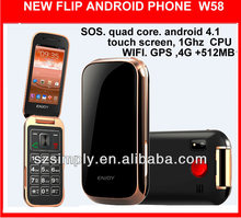 "3G 3.2""flip mtk6572 android mobile phone W58 android 4.1 with sos"