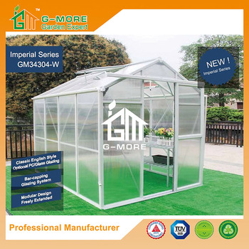 G-MORE Imperial Series Single Door, 6'x8', Optional PC/Glass Glazing, Freely Extended Easy DIY Glasshouse/Sun Room (GM34304-W)