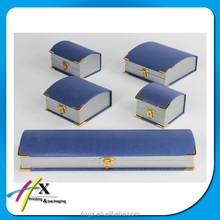 Custom made luxury trunk shaped blue jewelry box gift packaging box