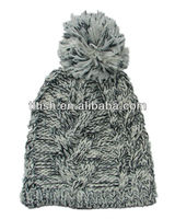 Popular high quality winter knitted hats ball top