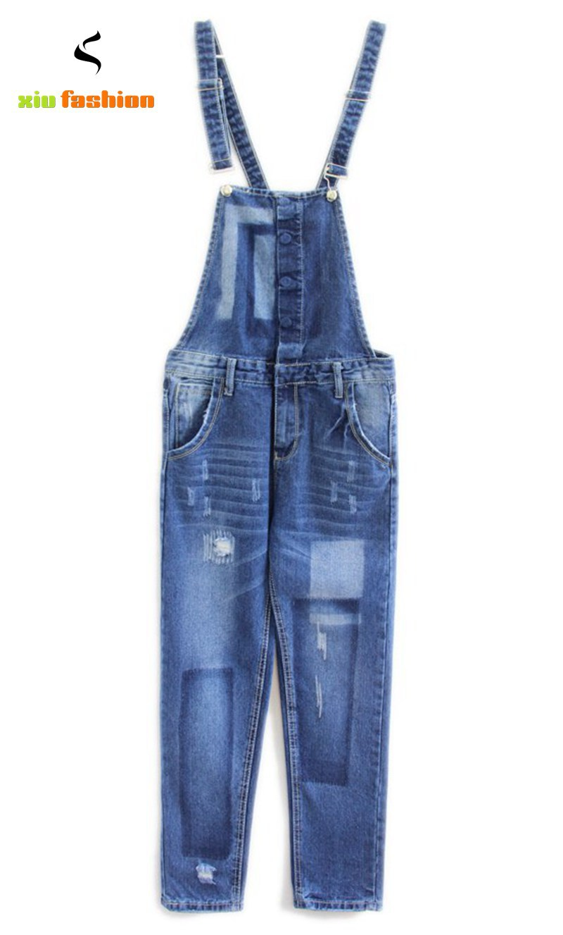 Denim Overalls Women Autumn Winter New Womens Blue Plus Size Bib Overalls For Women Bleached Dungarees High Waist Jeans Feminina
