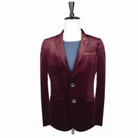 best selling red velvet T/R custom blazer suits for men italian regulaer casual suit