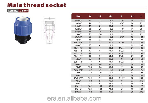 Male thread socket Plastic Fitting (PT009 )
