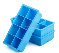 Large Ice Cube Trays, 2 Pack Silicone 2-Inch King Cubes Ice Tray, Blue