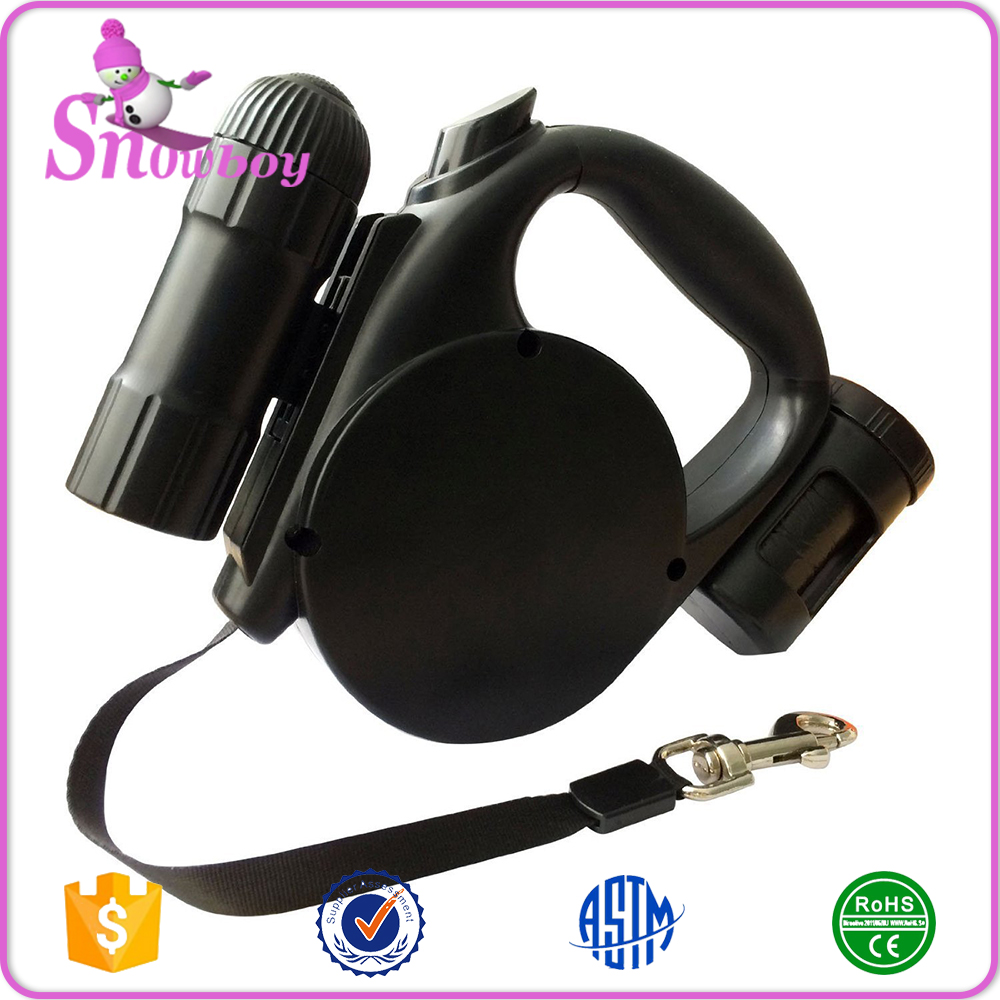 Automatic Retractable Pet Leash Lead for Dogs Cats with LED Flashlight and Garbage Dispenser Bag