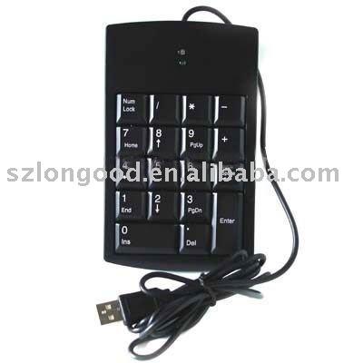USB numeric keyboard with 18 keys