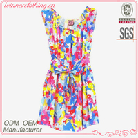 Nice Girls Apparel Sleeveless Party Dresses with Colorful Prints Bandage Belt in Hot Sale