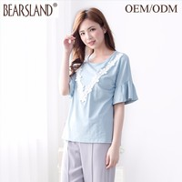 round collar popular design blouse women shirt model