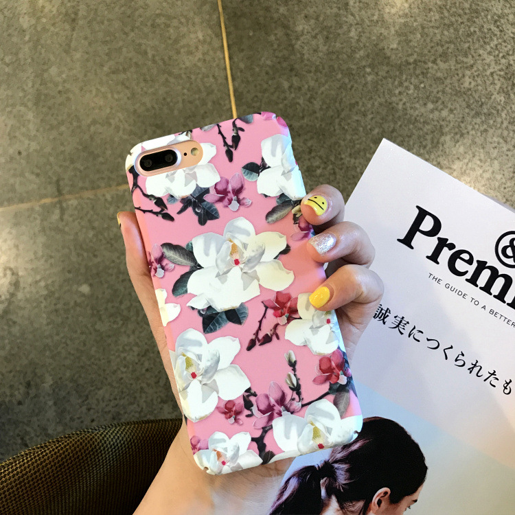 Hot flower phone case for iPhone 7plus girls case full cover mobile phone accessories