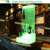 2016 Bar LED small white color floor stand acrylic wine display wall cabinet
