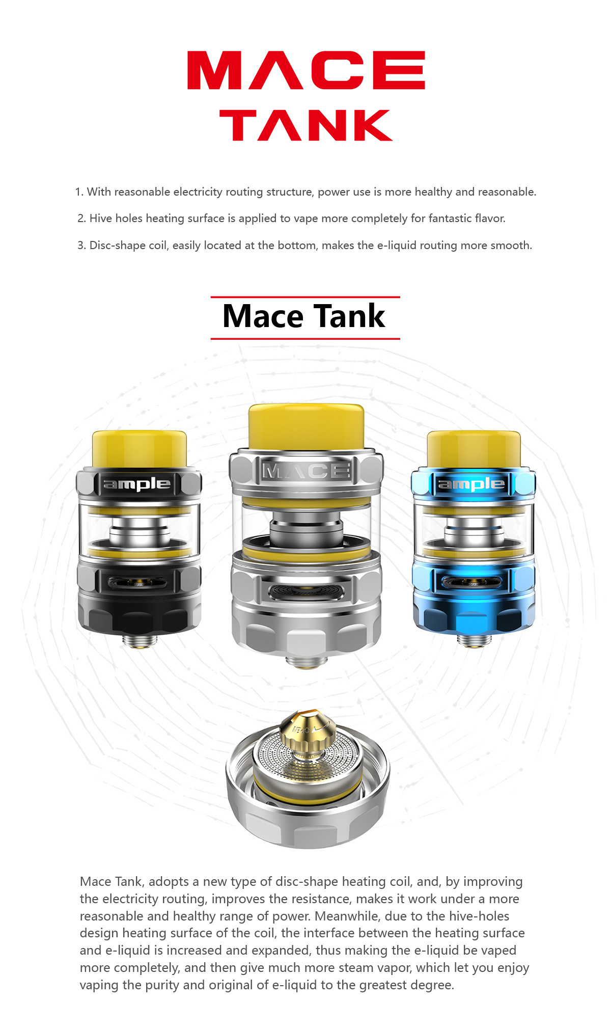 Ample Mace tank free vape pen starter kit sample vape juice pods