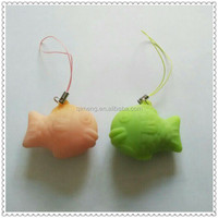 tpr fish shape stress ball moblie phone strap for popular promotiong gift in Japan