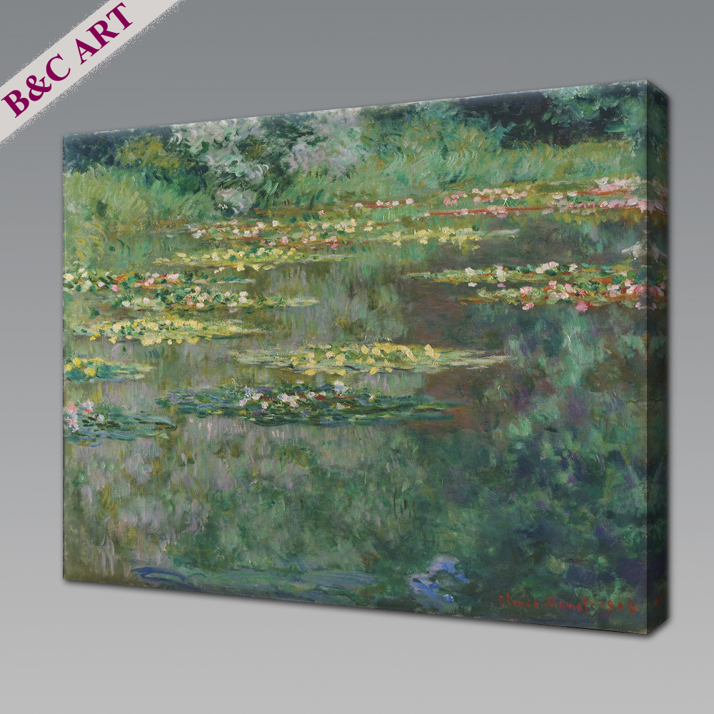 Handpainted Claude Monet Impressionist Art Work Water Lilies Oil Painting For Living Room Lobby