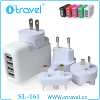 USB Universal Travel Charger EU UK US AUS Plug 4 port usb charger for iPhone 5 5S 5C 6 6 plus