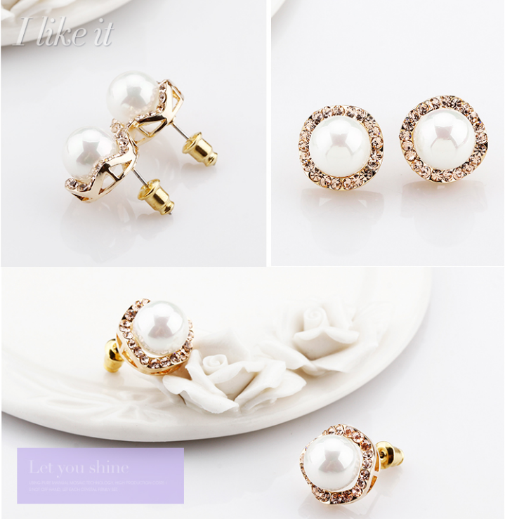 New Style Round Pearl Natural Freshwater CZ Pave Zinc Alloy Stud White Pearl Earrings Stud
