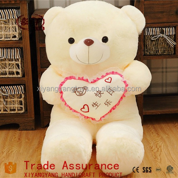 washable white stuffed toys teddy bear with plush heart teddy bear
