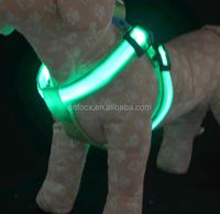 LED Dog Pet Harness Flashing Luminous Adjustable Safety Light Up Nylon Dog Harness