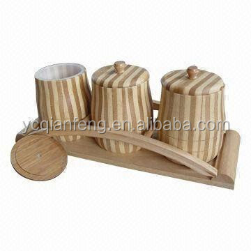 3-Pieces Bamboo canister set with holder.