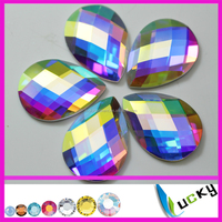 flat back glue on drop crystal /crystal ab color strass beads can be with/without holes