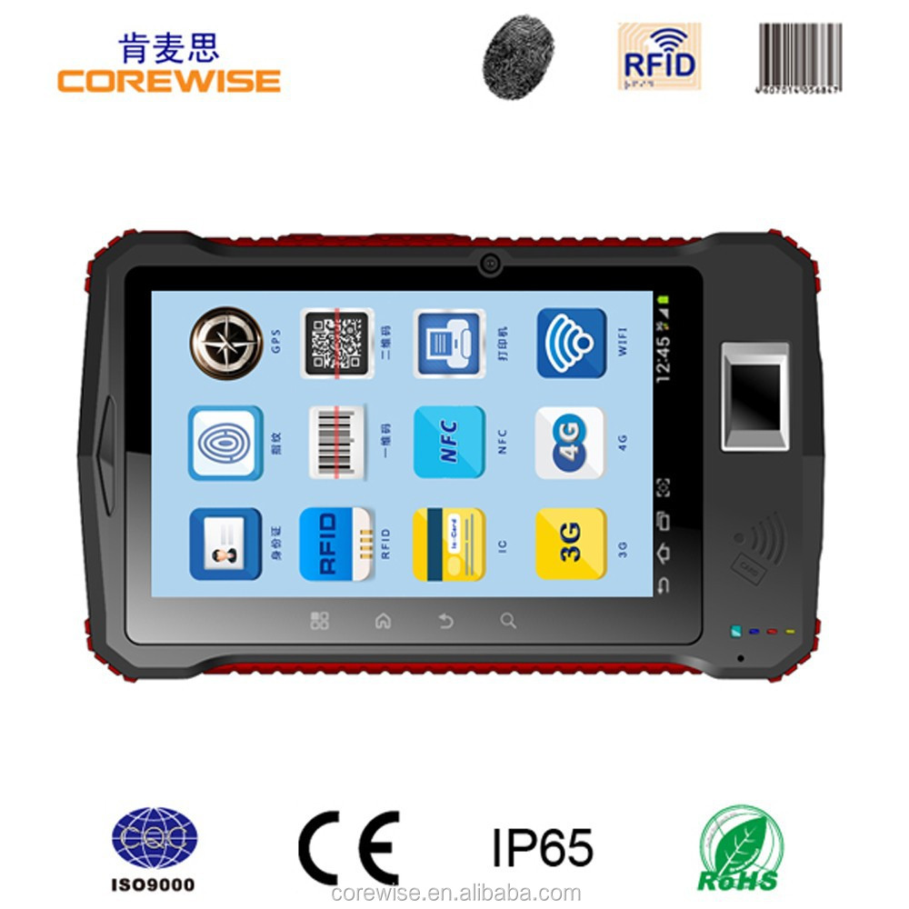 COREWISE 7-inch CE CCC RoHs IP65 fingerprint reader,qr code,android tablet rfid reader