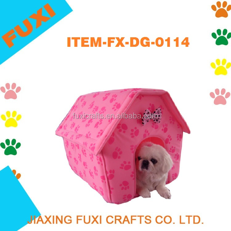 Pink Cat/Dog Pink Paw Prints Collapsible Pet House Pink