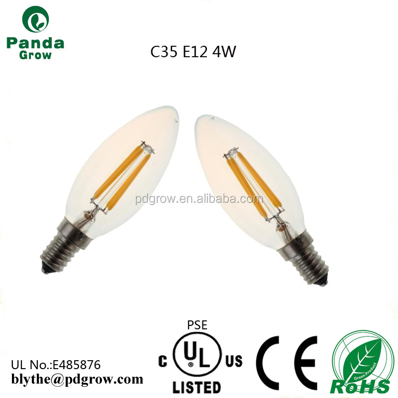 Clear glass housing 360 deg E14 filament led candle bulb 110LM/W C35 3 years warranty