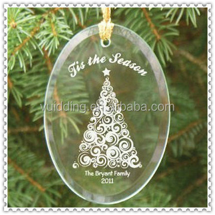 Wholesale Clear Personalized Acrylic Ornament with Engraved Tree Design Decoration Christmas Ornament