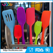 USSE 6-Piece Silicone utensil Set - 2 Spoons, 2 Turners, 1 Spoonula / Spatula & 1 Ladle - Heat Resistant Kitchen Utensils
