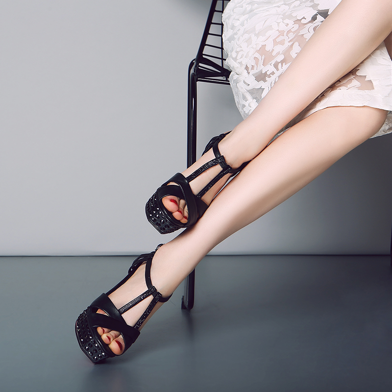 L032 stripper shoes super high heel sexy rhinestone platform ankle strap lady sandals