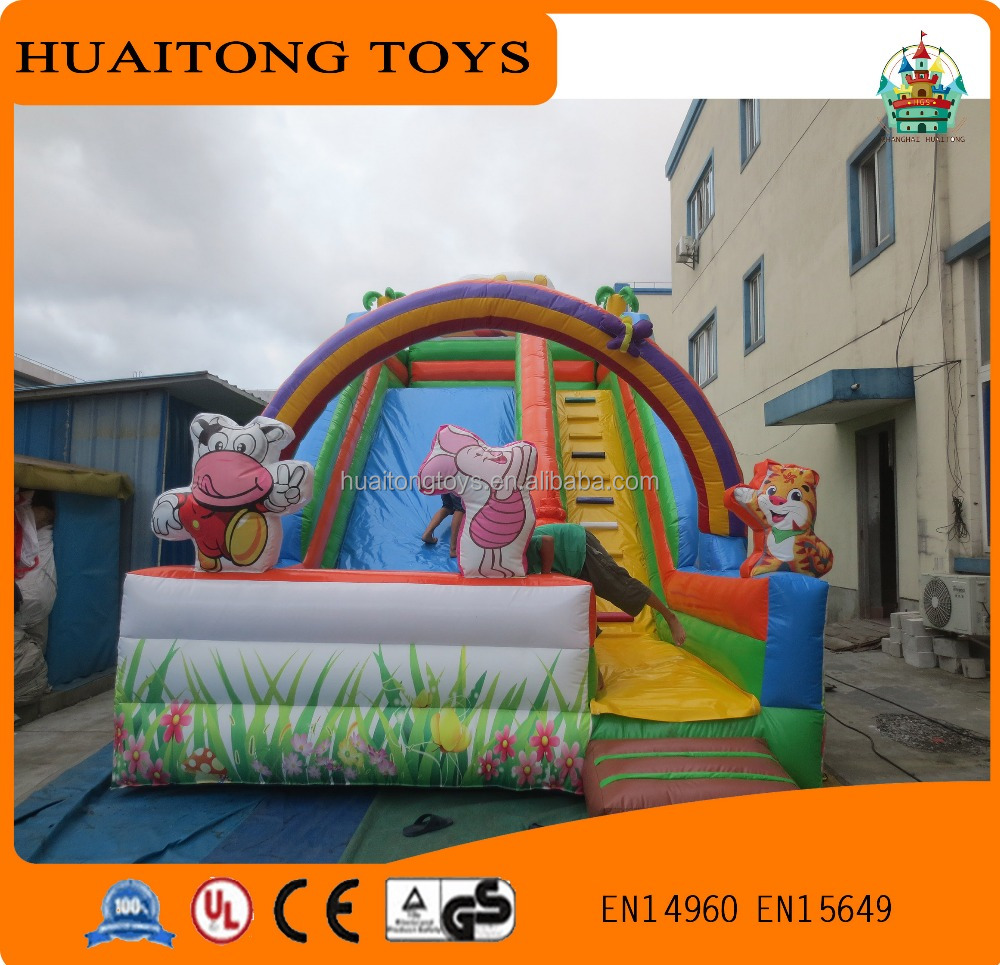 cute cartoon characters inflatable children slide with rainbow arched entrance