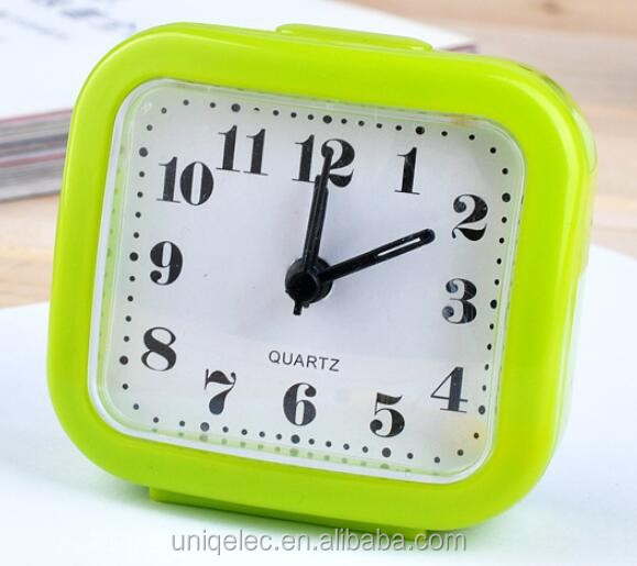 ABS plastic square small cheap China alarm light table clock for promotion
