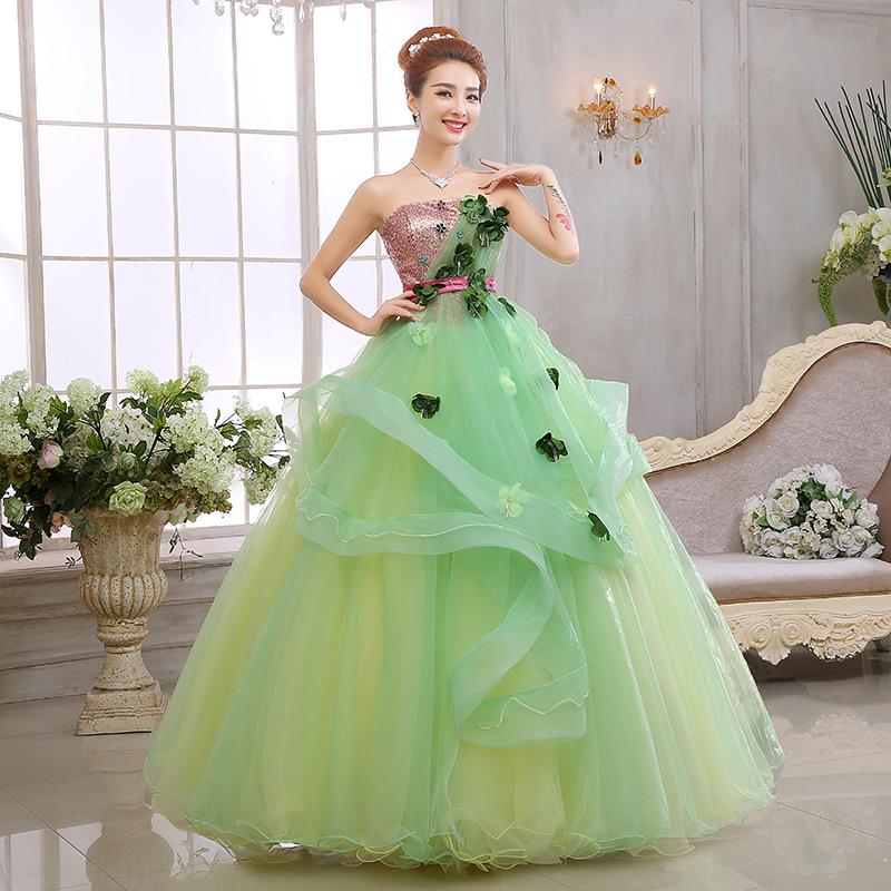 Beauty apple green strapless puffy lace Princess bridal wedding dress 2016