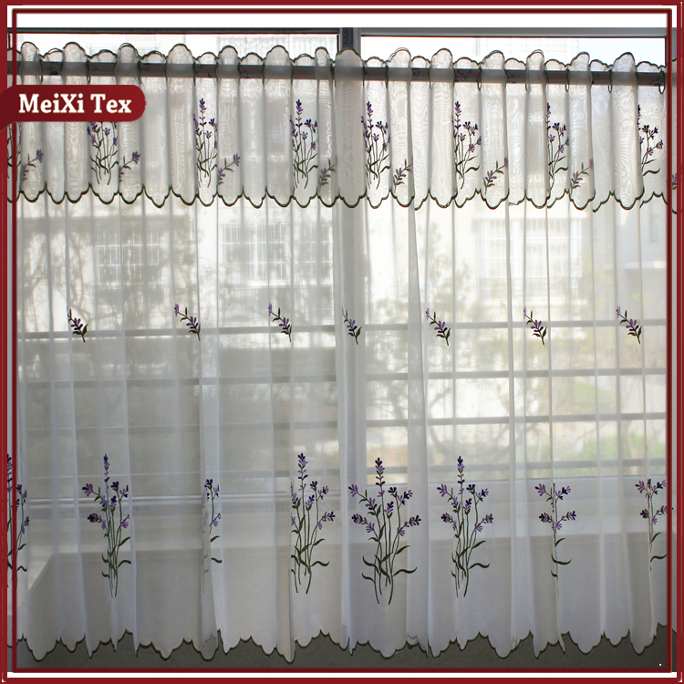 Home curtain decor color band panel embroidery collections kitchen curtain