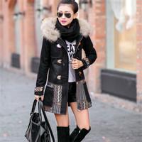 Onenweb w Fashion vinatge national style thick ladies coats denim thick long women coats