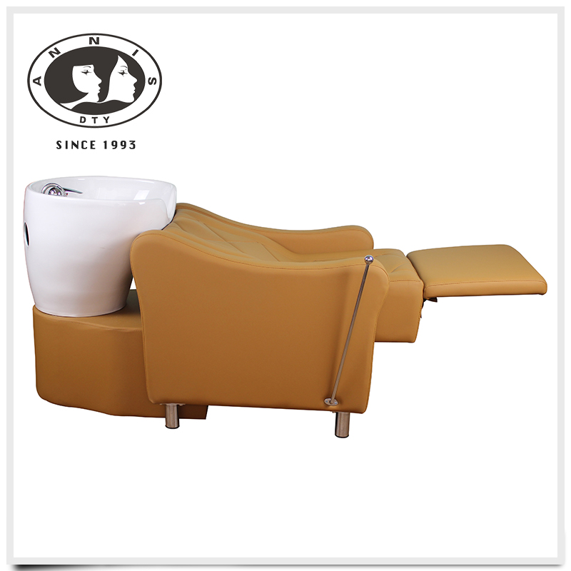 DTY hair salon equipment portable adjustable lay down reclining washing massage shampoo chair with basin