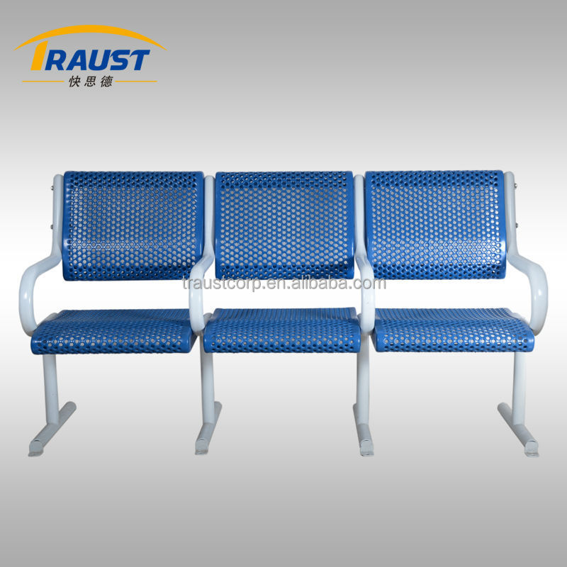 Outdoor Leisure Bench Garden Chiar with 3 seats backrest and armrest