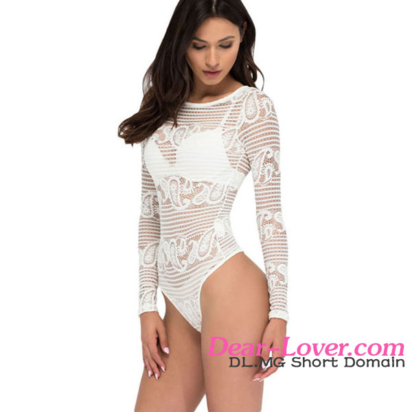 Sexy White Paisley Sheer Lace Long Sleeve Bodysuit girls wearing lace lingerie