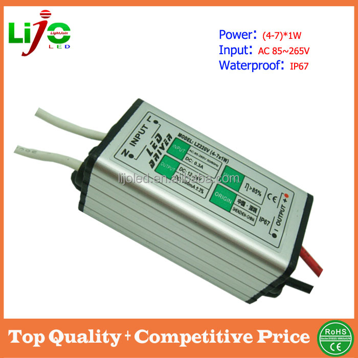 ac85~265V 4-7W 300ma ip67 waterproof led power driver for led lamps power supply