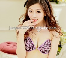 Women seamless invisible swimming coth silicone bra with gule hot sexy girl photo with animal leopard cover design
